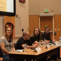 Scott Lynch (third from left) at Tucson Festival of Books. With Beth Cato, Brian Keene and Jeff Marriotte (L-R).
